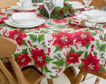 Christmas Poinsettia 150cm Round Tablecloth