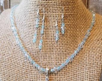 Blue Swarovski Necklace and Earring Set, Necklace, Earrings, Necklace and Earring Set