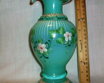 Listing 084 is an antique Handpainted fenton style ruffled rim glass vase 9""