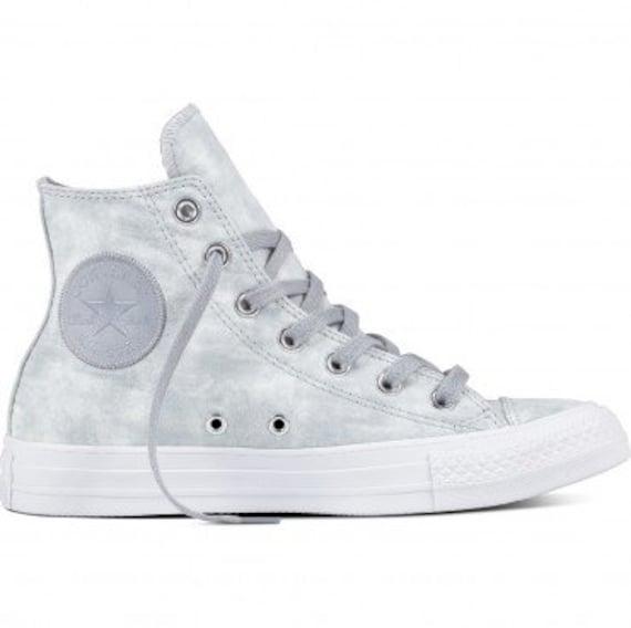 Gray Converse High Tops Grey Silver Marble Peach Leather w/ Swarovski Crystal Rhinestone Chuck Taylor All Star Wedding Bride Sneakers Shoes