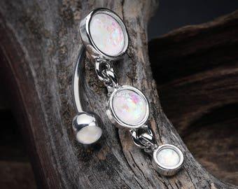 Opalescent Sparkle Triple Gem Reverse Belly Button Ring