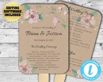 Rustic Wedding Fan - Kraft Program Fan Template - Wedding Program Fan - Printable Program Template - DIY Wedding Program - DIY Program Fan
