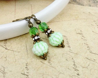 Green Earrings, White Earrings, Peridot Earrings, Czech Glass Beads, Victorian Earrings, Dressy Earrings, Antique Gold Earrings, Gifts