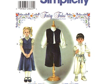 Toddler Sewing Pattern Shirt Vest Pants Skirt Simplicity 9010 Fairy Tales Boy or Girl Size 1/2 1 2 Pattern