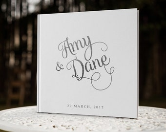 White and Silver Wedding Guest Book, Foil Wedding Guestbook, Custom Wedding Guest Book, Name Wedding Sign In Book, GB 009