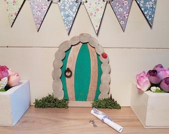 Stone Effect Cave/Hobbit Door Fairy Door Elf Door Gold and Green