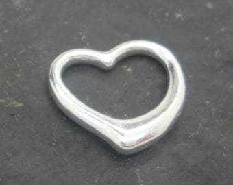 Sterling silver HEART charm outline silver heart pendant solid sterling silver 925 heart pendant