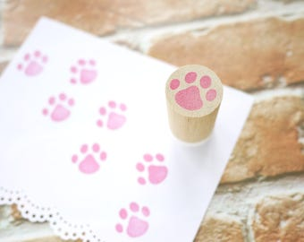 Paw Print Rubber stamp, Pink Foot Mark, Pet Geek Gift idea, Japanese Stationery, Pow rubber stamp, Dog pow stamp, Custom stamp, Hobonichi