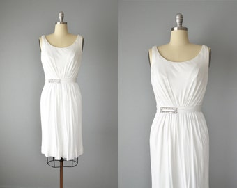 Vintage 60s Dress // 1960s Miss Elliette White Silk Jersey Dress // Small