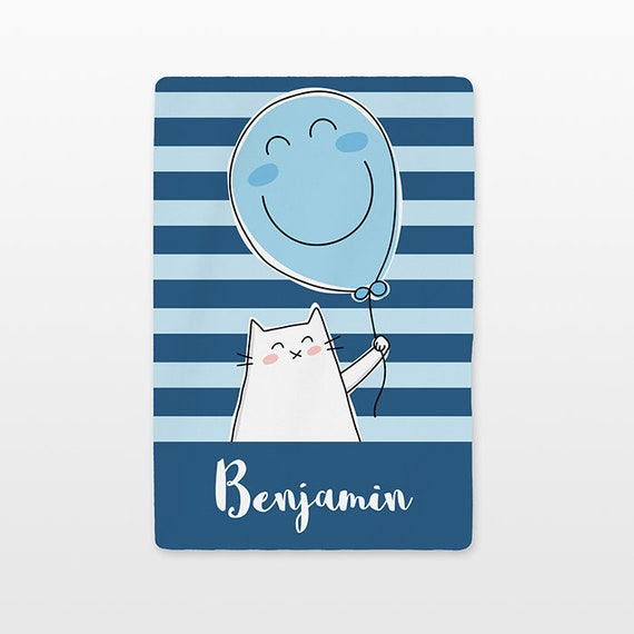 Balloon Cat Baby Blanket Personalized Name Custom Baby Boy Girl Throw Plush Minky Soft Fleece Kids New Baby Gift Idea Cute Navy Light Blue