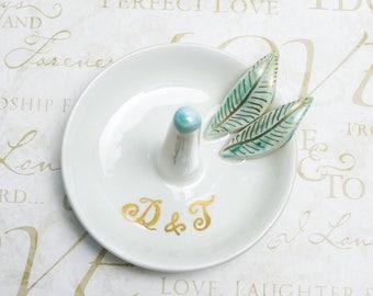 Custom ring dish White wedding ring holder, engagement gift, his and hers, Ceramic ring holder, gift Forever loved, gift under 25