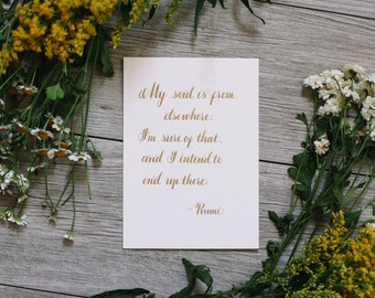Rumi Quote Handwritten Quote Calligraphy Quote Soul Quote Universe Quote INFJ Gift Rumi Gift Rumi Sign Calligraphy Sign Gift For Her