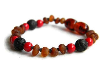 Amber and Red Coral Diffuser Bracelet Custom Made to Order