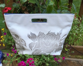 Silver On White Summer Foldover Tote by StephanieBee