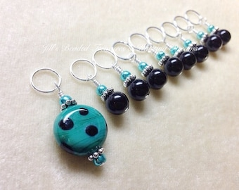 Teal Stitch Marker Set, Polka Dots, Snag Free Beaded Knitting Stitch Markers, Gift for Knitters