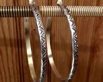 Huge Hand Stamped Sterling Silver Hoop Earrings