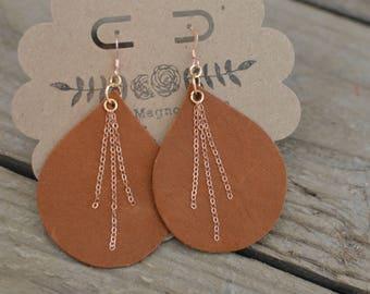 Deer Tan leather Teardrop Earrings with gold chain dangles
