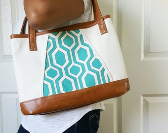 Teal Turquoise Brown White Faux Leather Handbag, Tote, Travel Bag, Diaper Bag, Laptop Bag, Large Handbag, Work Bag, Teal Print, Birthday