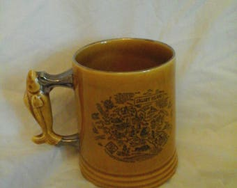 Vintage Caldly Tankard with Fish Handle Depicting on the sides Map of Caldly Island and Caldly Abbey