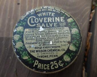 Vintage 1930s Round Tin White Cloverine Salve Metal Bathroom Decor Blue and Beige Empty The Wilson Chemical Co. Tyrone, Penn. Medicine