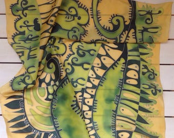 Green, unique silk scarf . Hand painted green and beige silk scarf. Made to order!