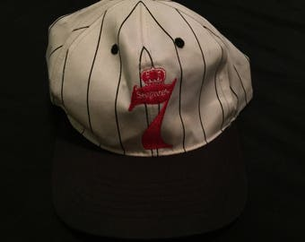 Vintage Pinstripe Seagrams 7 Alcohol Adjustable Snapback Hat Cap