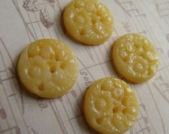 Vintage Translucent Yellow Japanese 18mm Round Floral Cameos 4 Pcs