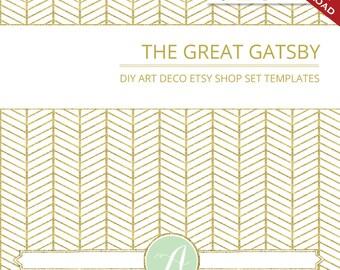 Custom Etsy Banner & Avatar Design Set - Art Deco Glitter Minimalist DIY Template Gatsby Geometric ZigZag Photoshop Publisher Gold Monogram