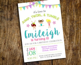 Gymnastics Birthday Invitation   Gymnastics Invitation   Tumbling Birthday Invitation   Cheer Birthday Invitation   Digital Invitation