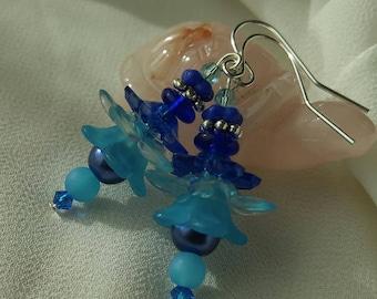 Blue Fairy Flower Earrings
