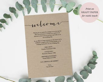 Welcome card printable - Editable PDF - DIY Template - Welcome Favor Card - Calligraphy style script - Kraft Menu - 5x7 inches - #GD1903