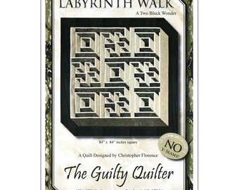 Labyrinth Walk, Maze Puzzle Pattern, 2-Block Wonder  - Quilt Pattern - Designed by Christopher Florence for Guilty Quilters - DIY