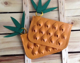 Leather Pineapple Pouch