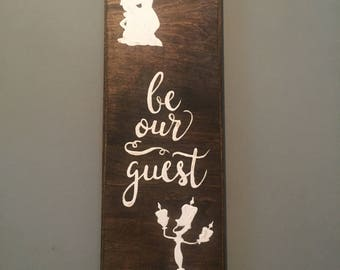 Be our guest wood panel painting with Beauty and the Beast themed characters