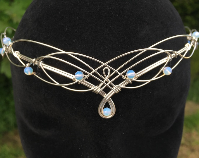 Moonstone Circlet Bridal Headpiece Diadem Medieval Crown Renaissance Diadem Pagan Wedding Handfasting