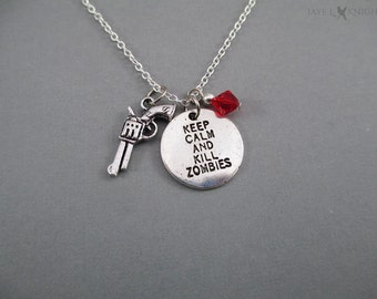 Rick Grimes Keep Calm and Kill Zombies Pistol Charm Necklace - The Walking Dead - Silver Charms