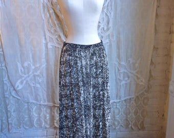 Black and White Sheer Silk Maxi Skirt