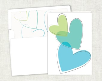 Blue Hearts Card