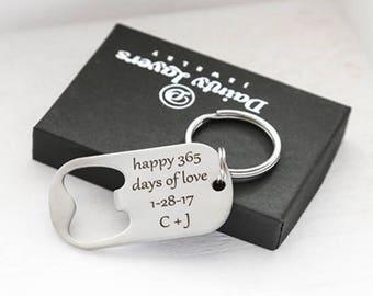 1 year anniversary gift for him / Custom Boyfriend Gift Keychain / 1 year anniversary gift fo husband