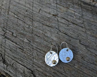 Sterling silver hammered gold blob earrings made to order