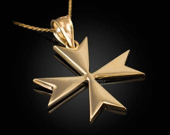 Gold maltese cross etsy more colors gold maltese cross pendant aloadofball Image collections