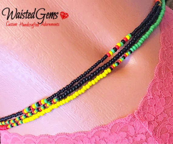 Rasta Triple Strand Waist Beads, Waistbeads, belly chains, Body Jewelry, Red Yellow and Green, belly beads, swim wear, Boho Jewelry zmw55642