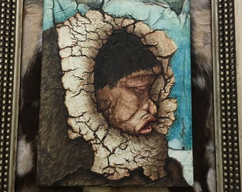 """Eskimo Pie: Original Mixed Media Painting by Tazz. 25"""" X 21"""" X 1.5"""" Framed & Matted (cowhide matte) by Artist. Outsider Art."""