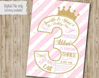 Third Princess Birthday Invitation  / Gold Glitter Birthday Invitation / 3rd Girl's Birthday Invitation / One, Pink, White, Gold, watercolor