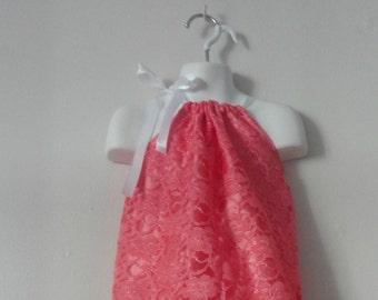 Girls Dress. Lace Dress. Coral Dress. Summer Dress. Girls Summer Dress. Girls Lace summer dress. Wedding dress. Formal Dress.