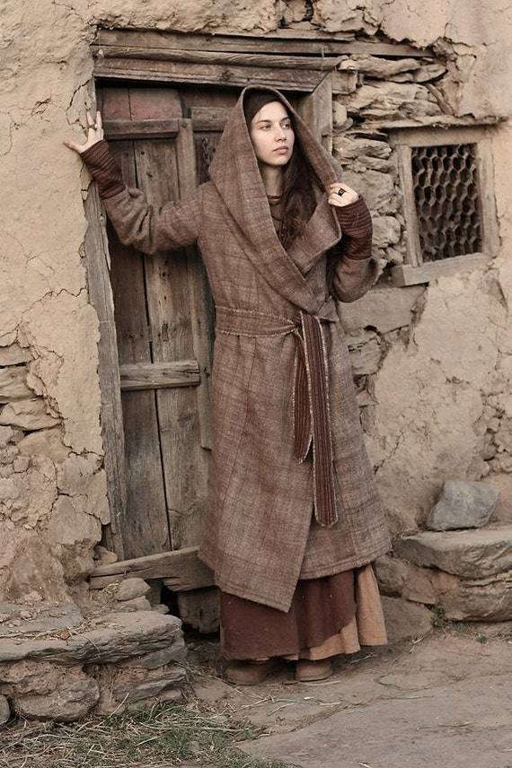 with Wool Coat Himalayan Hoodie handwoven qtcOTxU8F