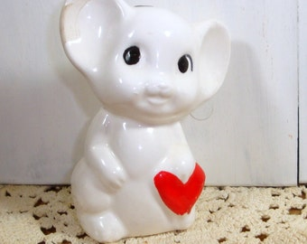 Vintage Ceramic Mouse Bell, Chimer, Ornament, White Mouse, Red Heart, Mice, Valentine's Day, Holiday Decoration  (150-14)
