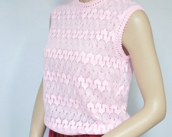 1960's Shell Top Sleeveless Knit Blouse Pink Shell Blouse Size Small