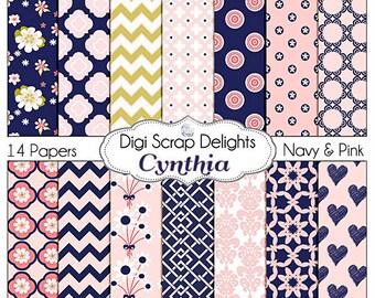 Pink and Navy Scrapbook Paper: Cynthia Digital Scrapbook Papers, Instant Download, Chevron, Quatrefoil