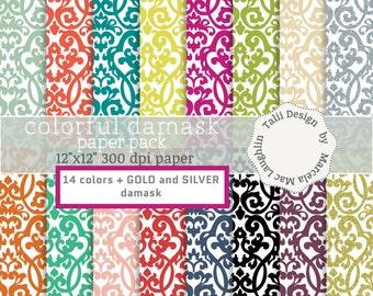 SALE! Damask Digital Paper COLORFUL DAMASK- Gold and silver damask paper antique brocade backgrounds patterns bright + pastel flourish paper